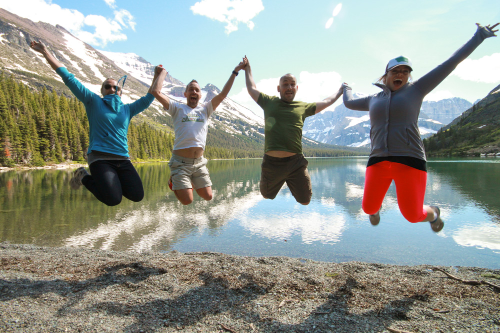 jumping at Many Glacier
