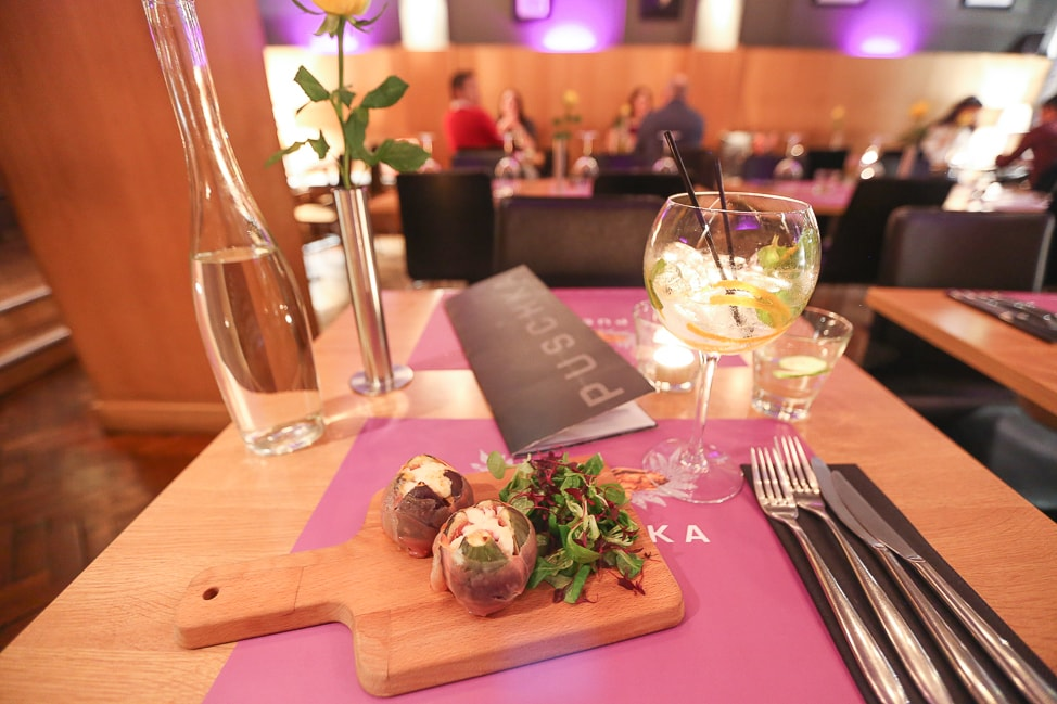 Creative British cuisine in Liverpool from carefully-sourced produce, in Puschka's funky, pink-walled, parquet-floored bistro.