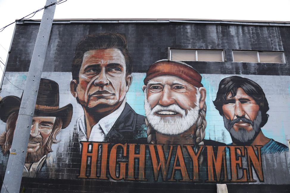 Country Music Highwaymen mural in Nashville