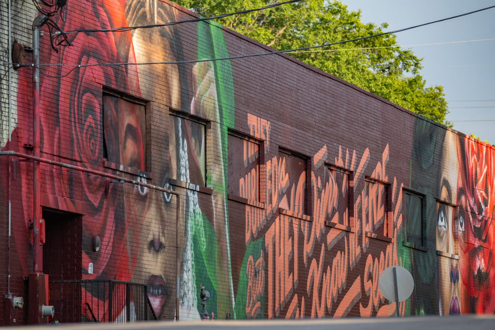 Black Lives Matter mural in Nashville by Sarah Painter and Cymone Wilder