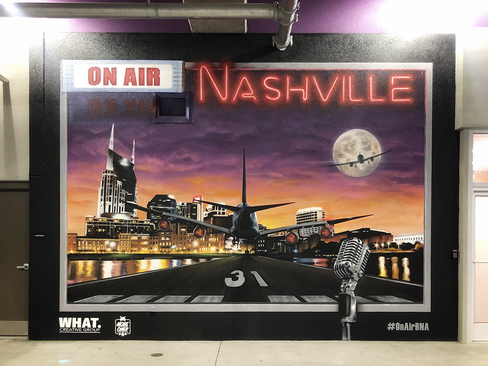 Nashville airport mural by Mobe