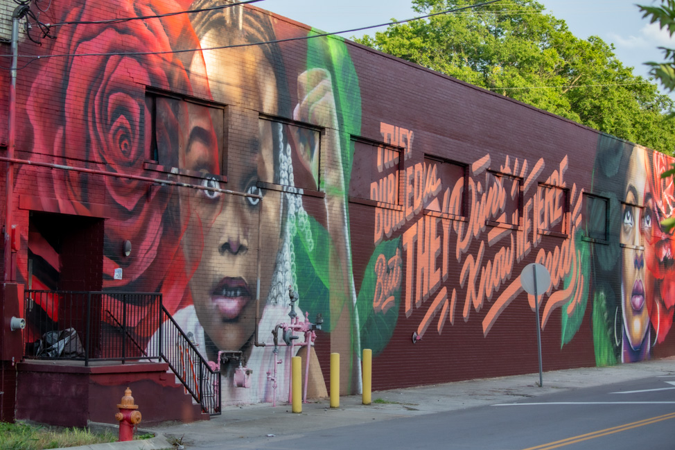 Black Lives Matter mural in Nashville at Marathon Village