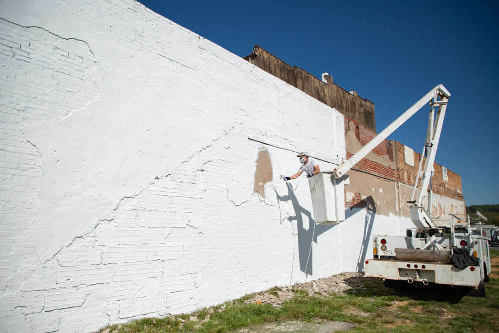 Prepping walls for mural install