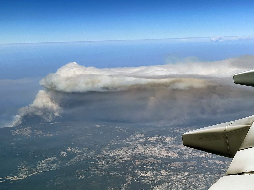 Caldor wildfires in California from above